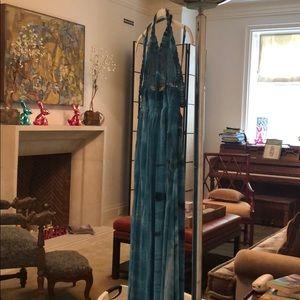 Blue dress tie dye spaghetti dress